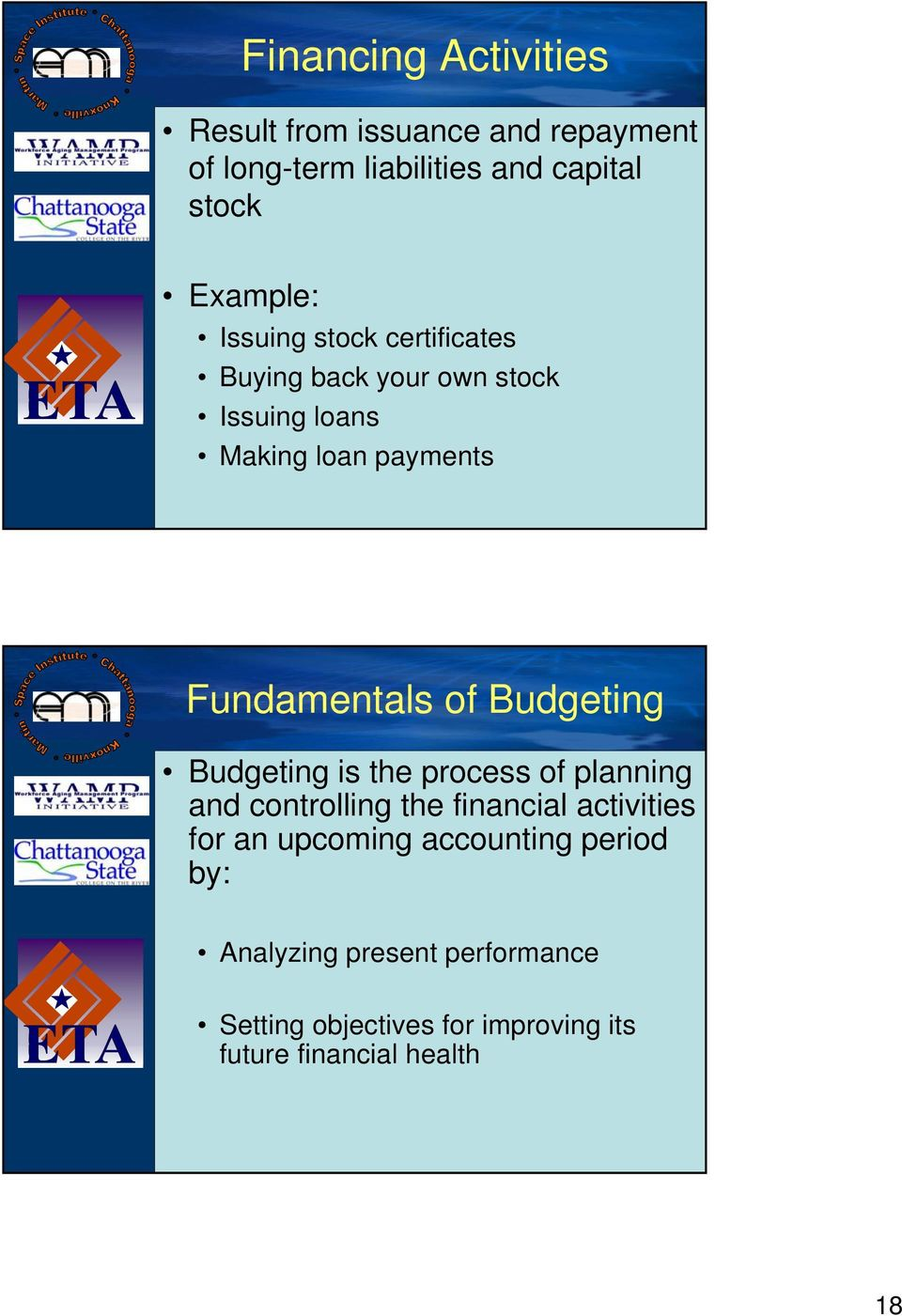 Budgeting Budgeting is the process of planning and controlling the financial activities for an upcoming