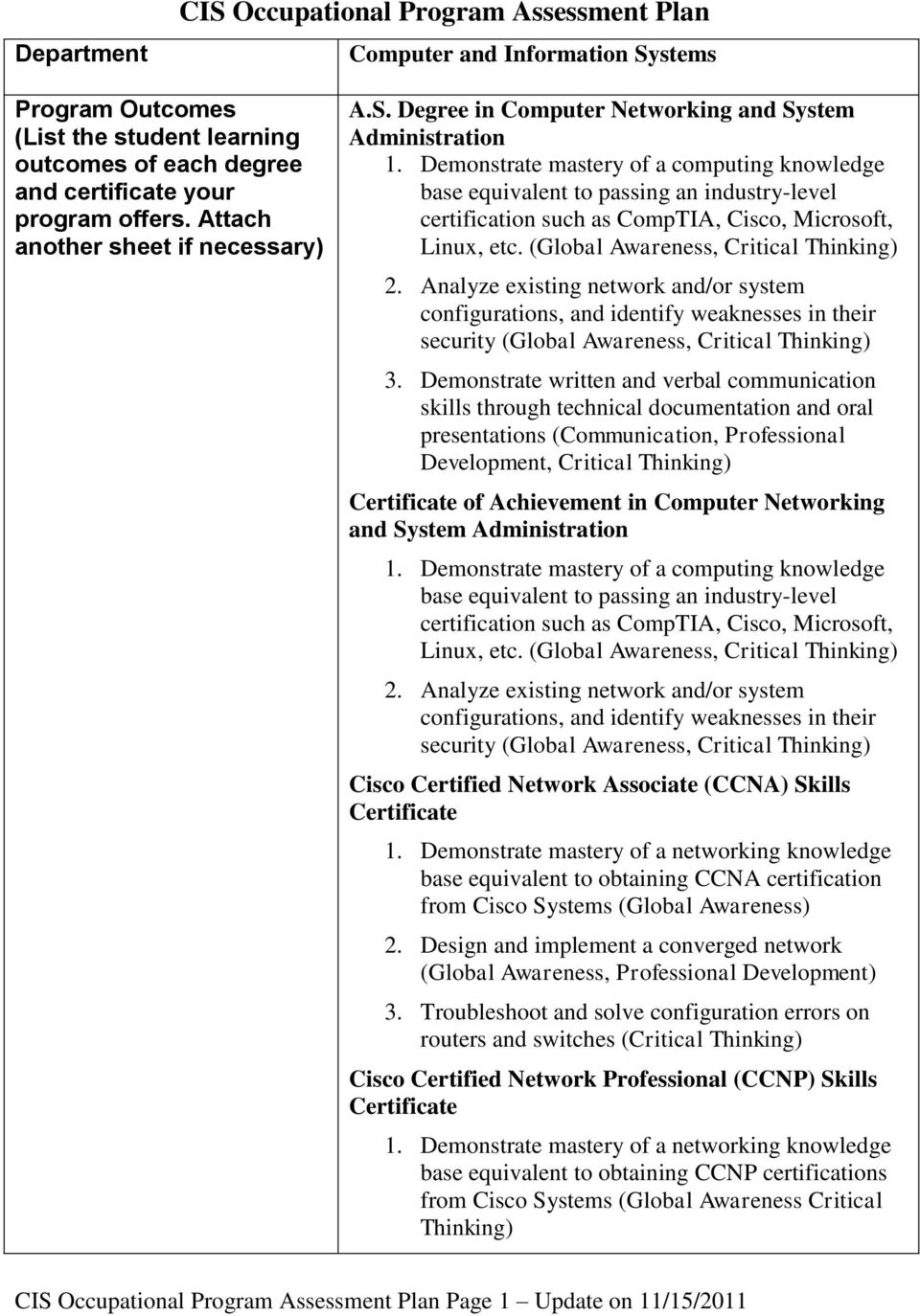 Degree in Computer Networking and System Administration base equivalent to passing an industry-level certification such as CompTIA, Cisco, Microsoft, Linux, etc.