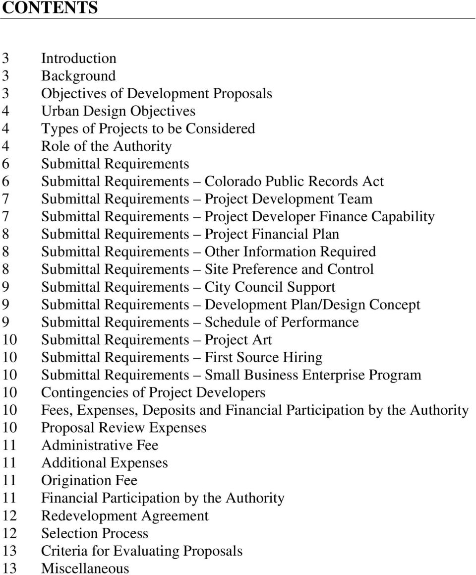 Plan 8 Submittal Requirements Other Information Required 8 Submittal Requirements Site Preference and Control 9 Submittal Requirements City Council Support 9 Submittal Requirements Development