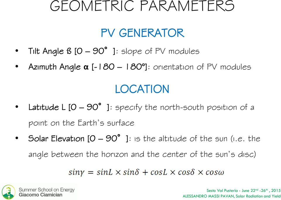 the north-south position of a point on the Earth s surface Solar Elevation [0 90 ]: is