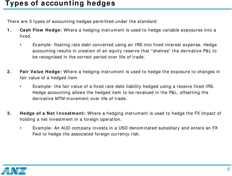 Hedge accounting results in creation of an equity reserve that shelves the derivative P&L to be recognised in the correct period over life of trade. 2.