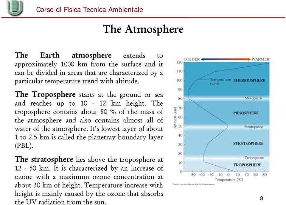 The troposphere contains about 80 % of the mass of the atmosphere and also contains almost all of water of the atmosphere. It's lowest layer of about 1 to 2.