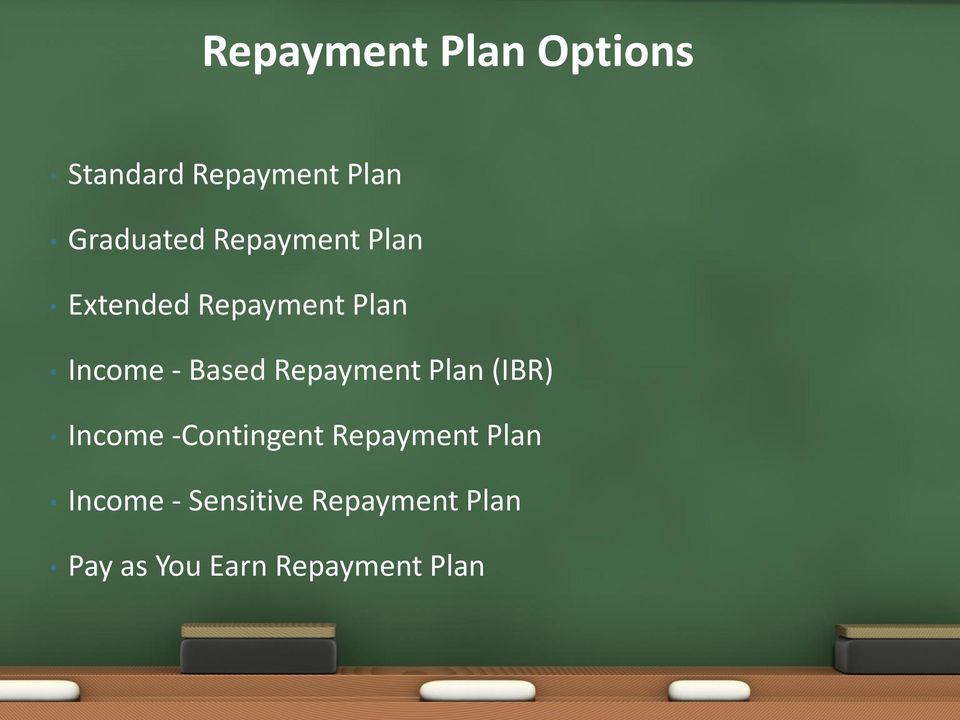 Repayment Plan (IBR) Income -Contingent Repayment Plan