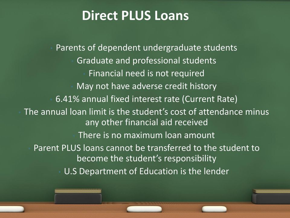 41% annual fixed interest rate (Current Rate) The annual loan limit is the student s cost of attendance minus any