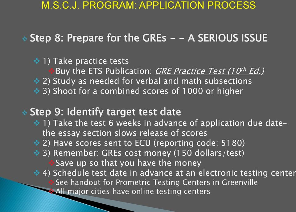 application due date the essay section slows release of scores 2) Have scores sent to ECU (reporting code: 5180) 3) Remember: GREs cost money (150 dollars/test) Save up so