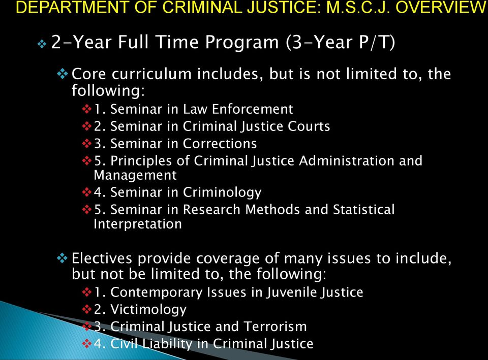 Principles of Criminal Justice Administration and Management 4. Seminar in Criminology 5.