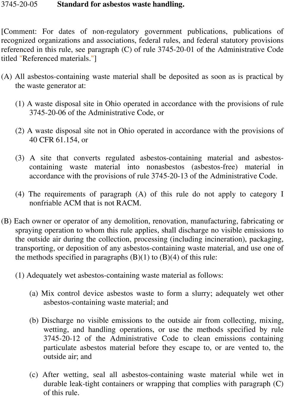 "paragraph (C) of rule 3745-20-01 of the Administrative Code titled ""Referenced materials."