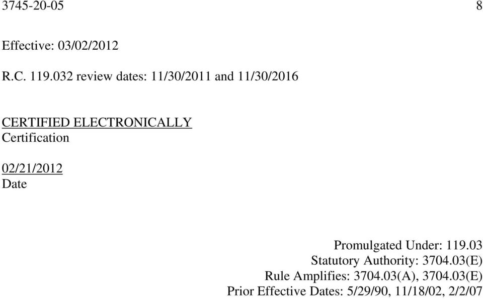 Certification 02/21/2012 Date Promulgated Under: 119.