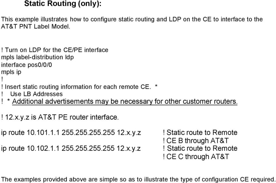 * Additional advertisements may be necessary for other customer routers.! 12.x.y.z is AT&T PE router interface. ip route 10.101.1.1 255.255.255.255 12.x.y.z ip route 10.102.