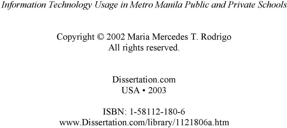 Rodrigo All rights reserved. Dissertation.