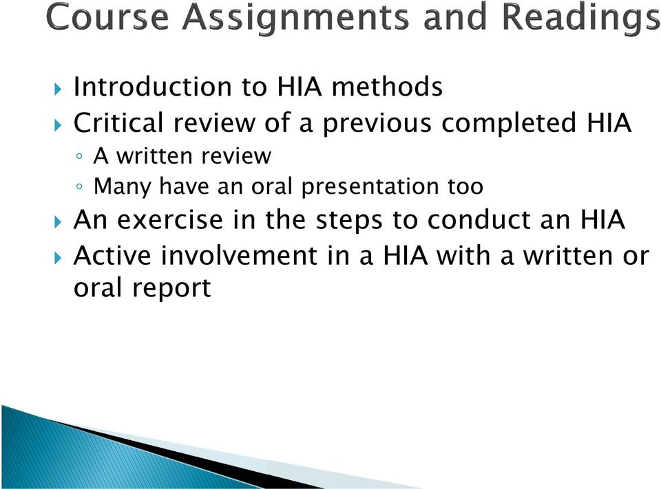 oral presentation too An exercise in the steps to