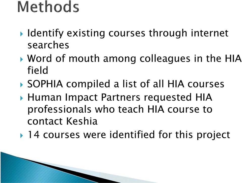 courses Human Impact Partners requested HIA professionals who teach
