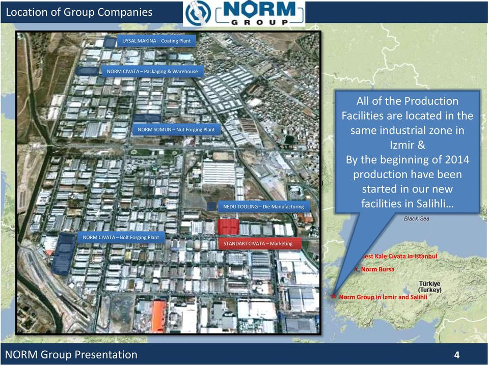 same industrial zone in Izmir By the beginning of 2014 production have been started in our new facilities in Salihli NORM