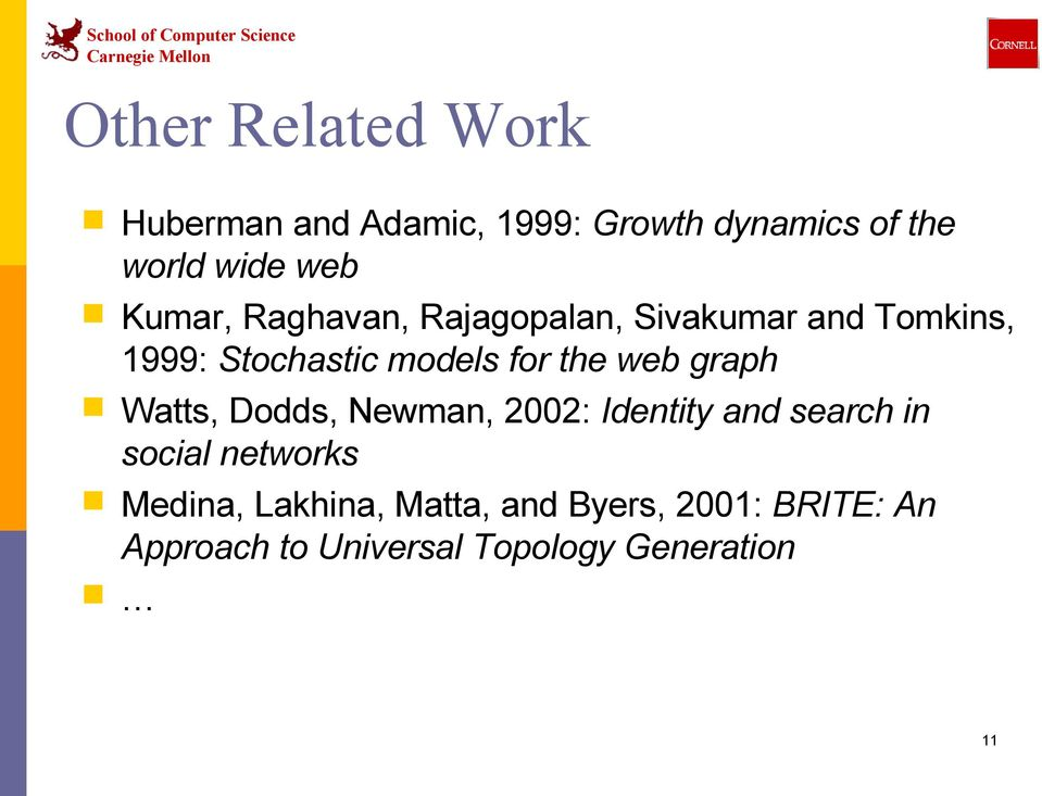web graph Watts, Dodds, Newman, 2002: Identity and search in social networks Medina,
