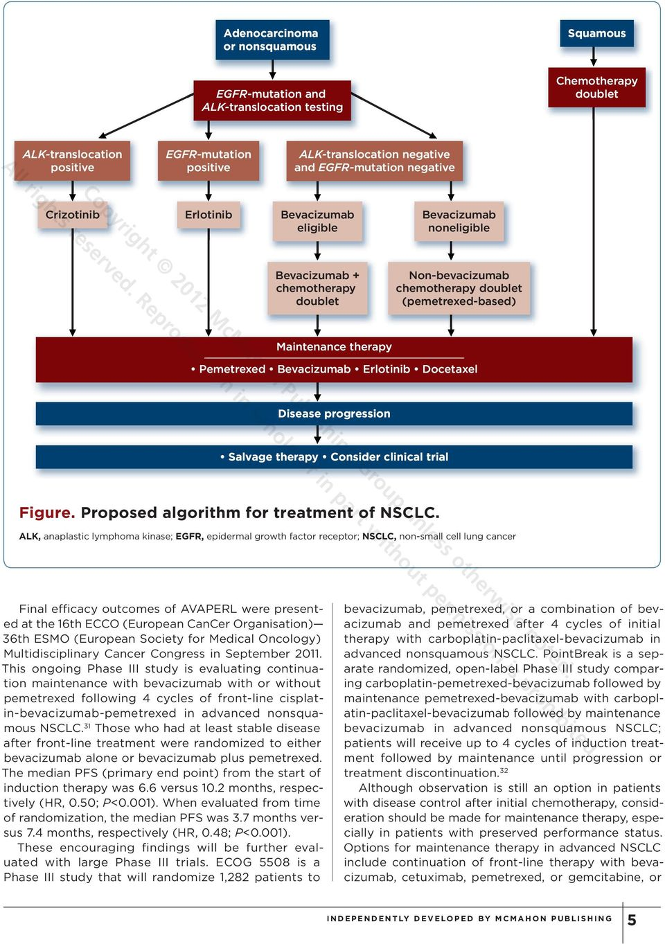 Bevacizumab Erlotinib Docetaxel Disease progression Salvage therapy Consider clinical trial Figure. Proposed algorithm for treatment of NSCLC.