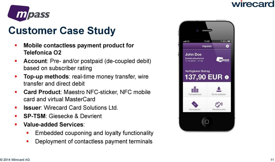 NFC-sticker, NFC mobile card and virtual MasterCard Issuer: Wirecard Card Solutions Ltd.