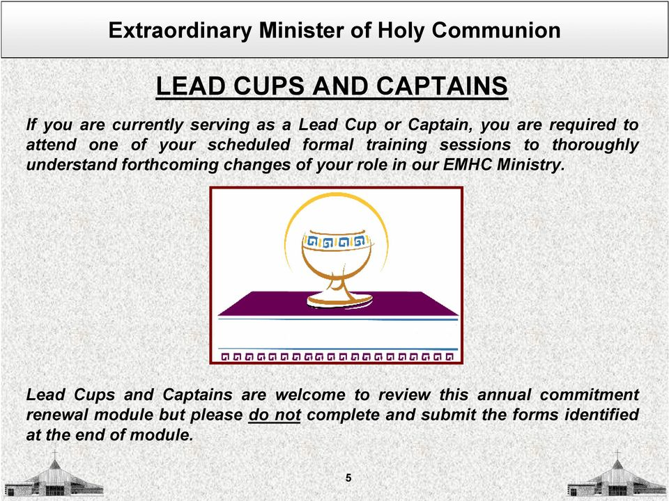 of your role in our EMHC Ministry.