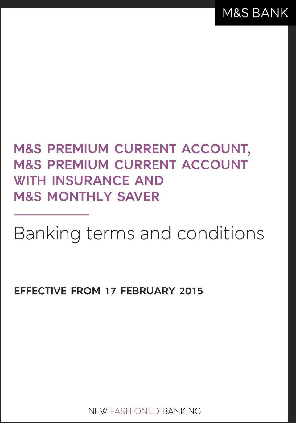 MONTHLY SAVER Banking terms and conditions