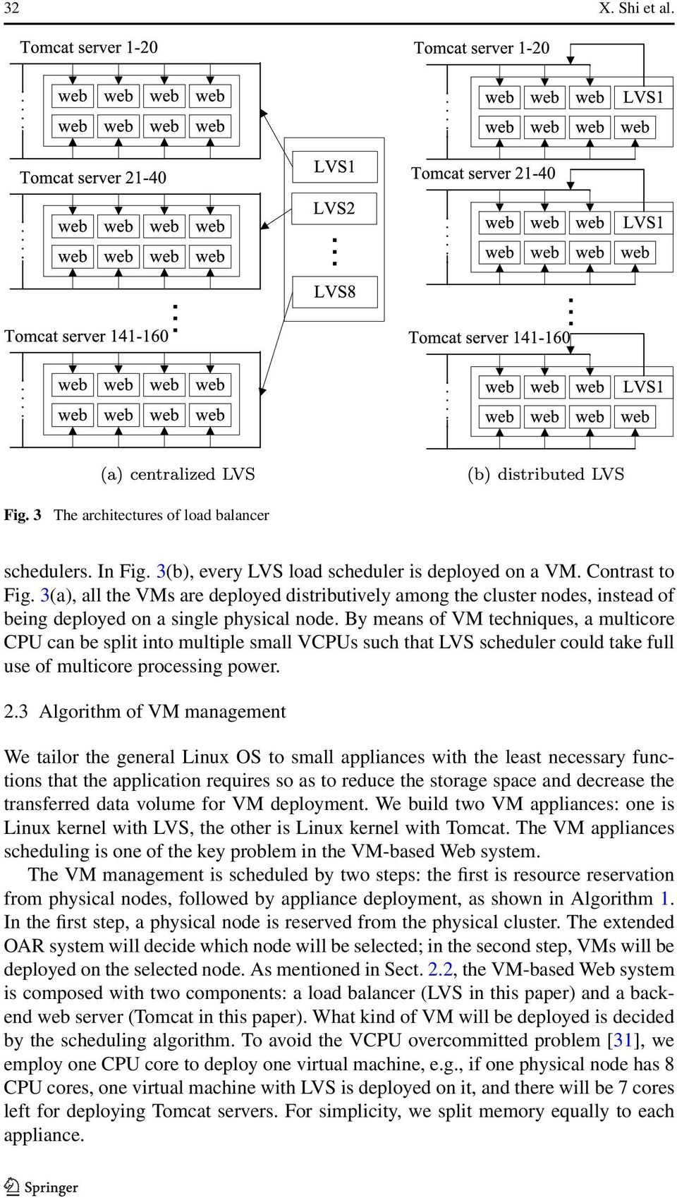 By means of VM techniques, a multicore CPU can be split into multiple small VCPUs such that LVS scheduler could take full use of multicore processing power. 2.