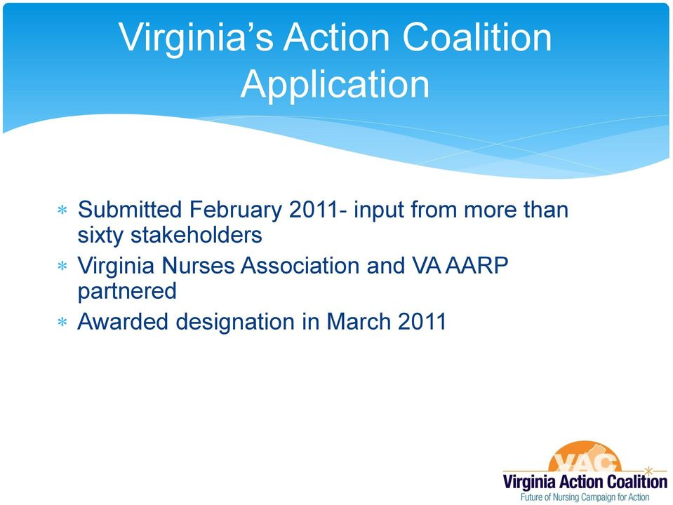 sixty stakeholders Virginia Nurses Association
