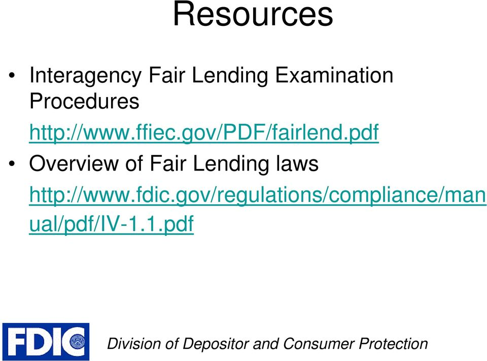 pdf Overview of Fair Lending laws http://www.