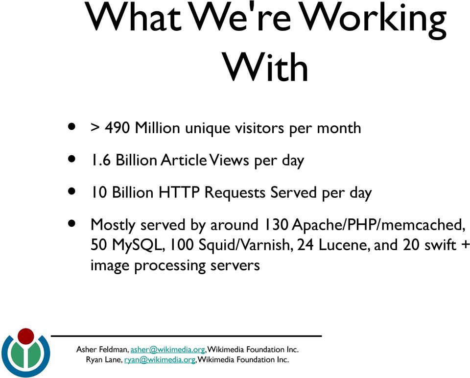 per day Mostly served by around 130 Apache/PHP/memcached, 50