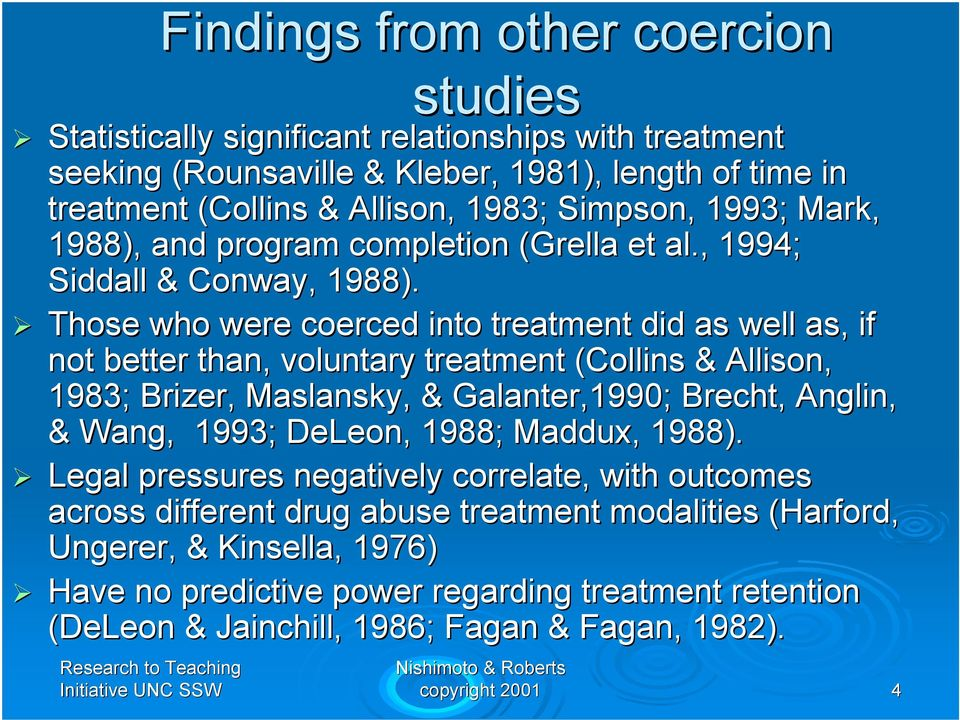 Those who were coerced into treatment did as well as, if not better than, voluntary treatment (Collins & Allison, 1983; Brizer, Maslansky,, & Galanter,1990; Brecht, Anglin, & Wang, 1993;