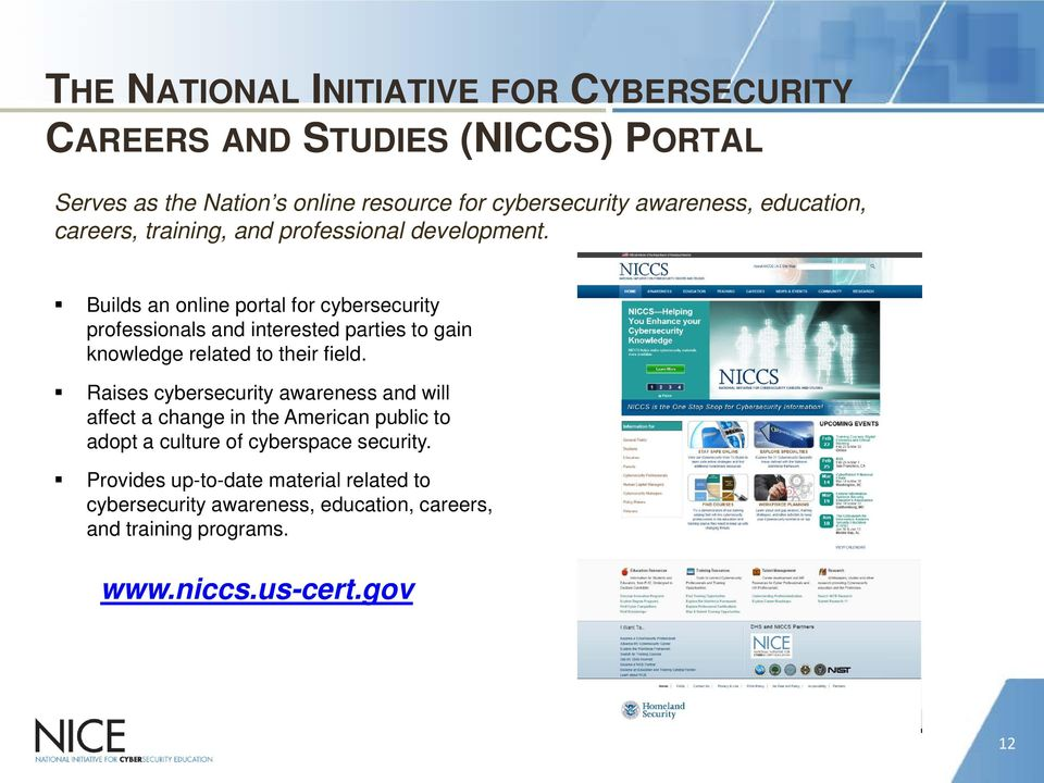 Builds an online portal for cybersecurity professionals and interested parties to gain knowledge related to their field.