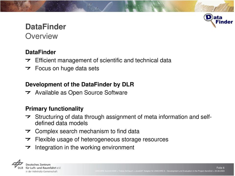 Structuring of data through assignment of meta information and selfdefined data models Complex search