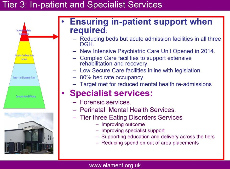 Low Secure Care facilities inline with legislation. 80% bed rate occupancy. Target met for reduced mental health re-admissions Specialist services: Forensic services.