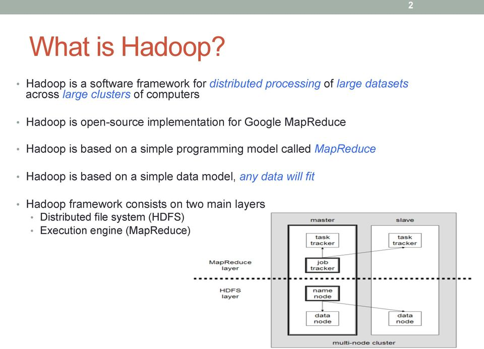 computers Hadoop is open-source implementation for Google MapReduce Hadoop is based on a simple