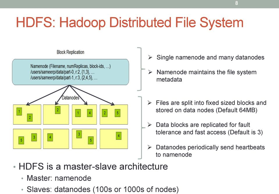 nodes) Ø Files are split into fixed sized blocks and stored on data nodes (Default 64MB) Ø Data blocks are