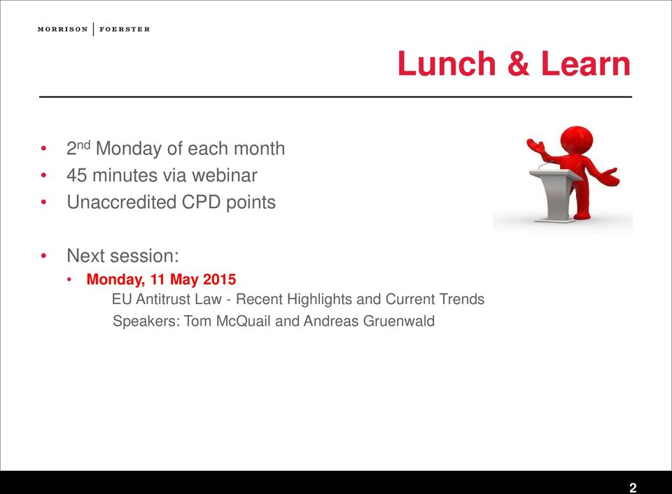 11 May 2015 EU Antitrust Law - Recent Highlights and