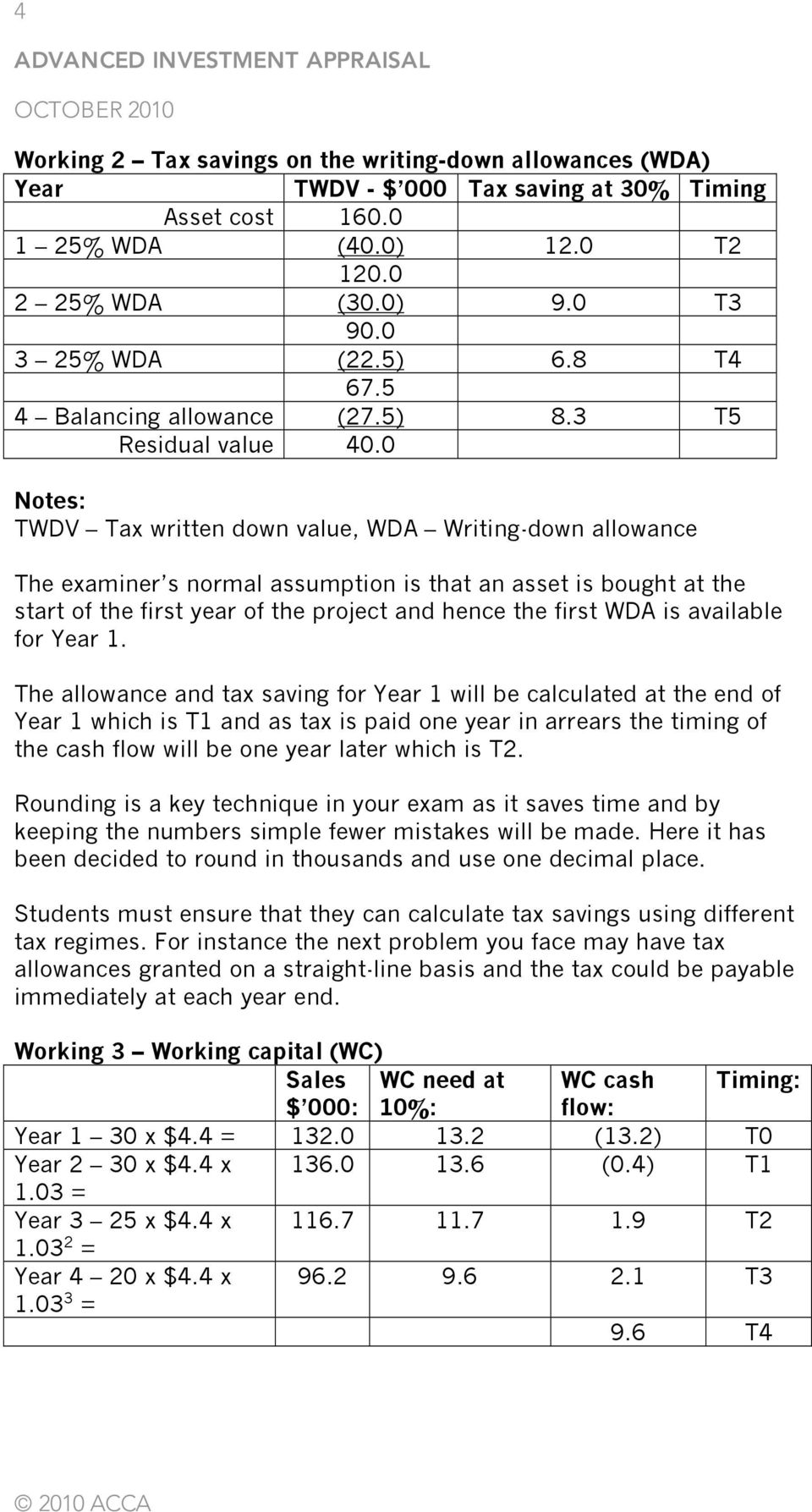 0 Notes: TWDV Tax written down value, WDA Writing-down allowance The examiner s normal assumption is that an asset is bought at the start of the first year of the project and hence the first WDA is