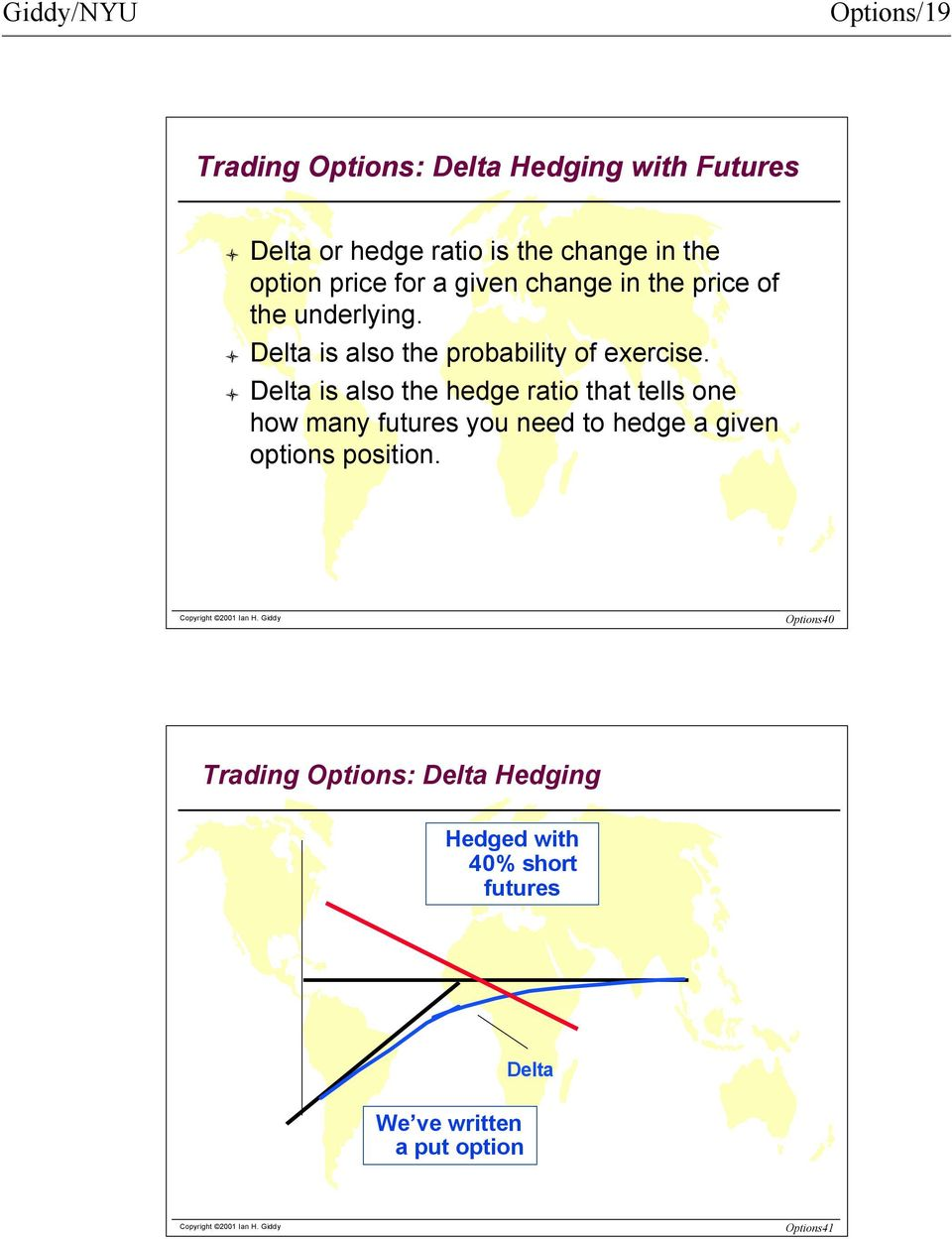 Delta is also the hedge ratio that tells one how many futures you need to hedge a given options position.