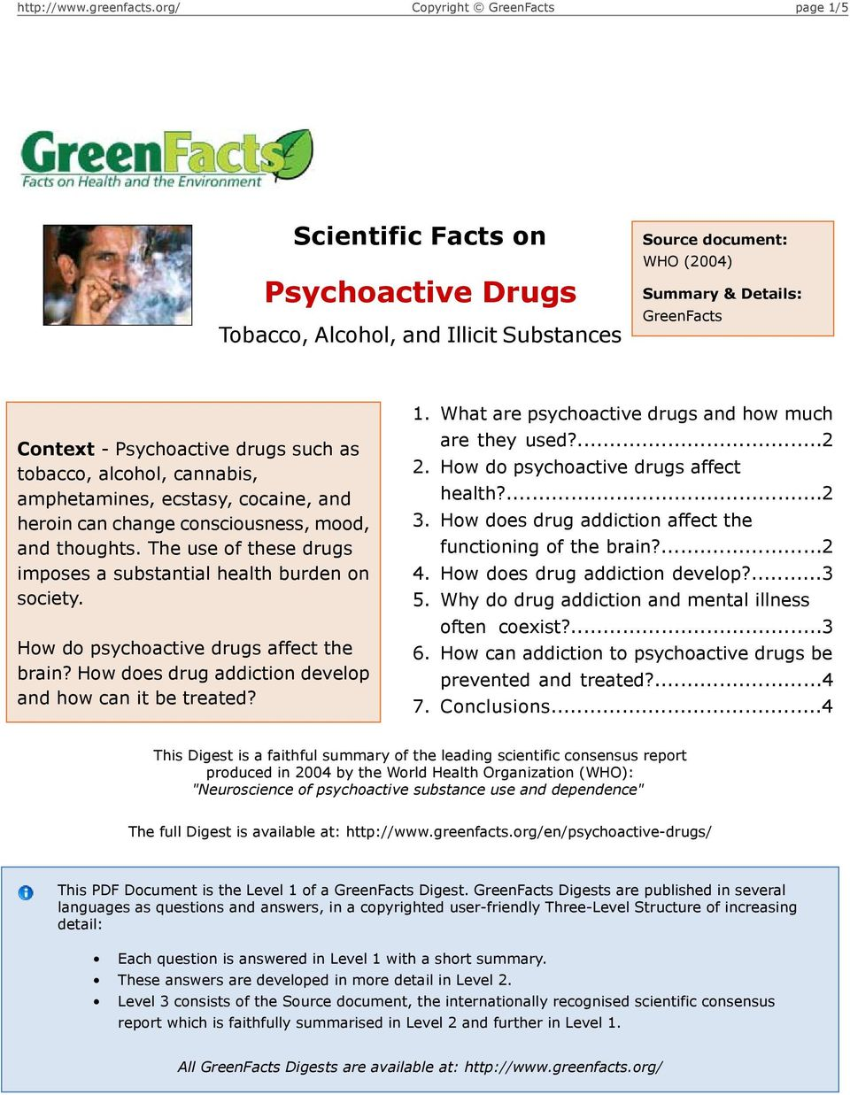 How do psychoactive drugs affect the brain? How does drug addiction develop and how can it be treated? 1. 2. 3. 4. 5. 6. 7. What are psychoactive drugs and how much are they used?