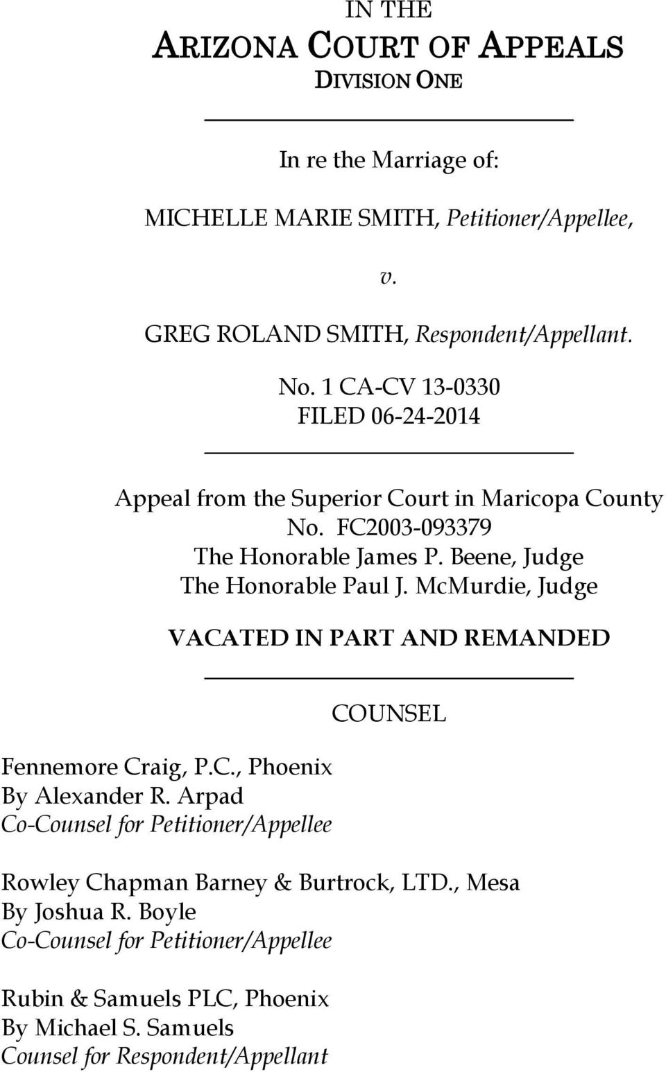 McMurdie, Judge VACATED IN PART AND REMANDED Fennemore Craig, P.C., Phoenix By Alexander R.