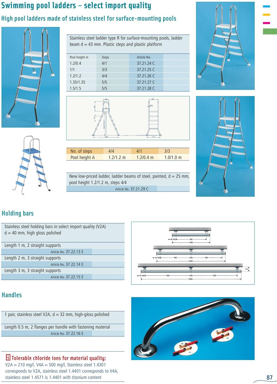 of steps 4/4 4/1 3/3 Pool height A 1.2/1.2 m 1.2/0.4 m 1.0/1.0 m New low-priced ladder, ladder beams of steel, painted, d = 25 mm, pool height 1.2/1.2 m, steps 4/4 Article No. 37.21.