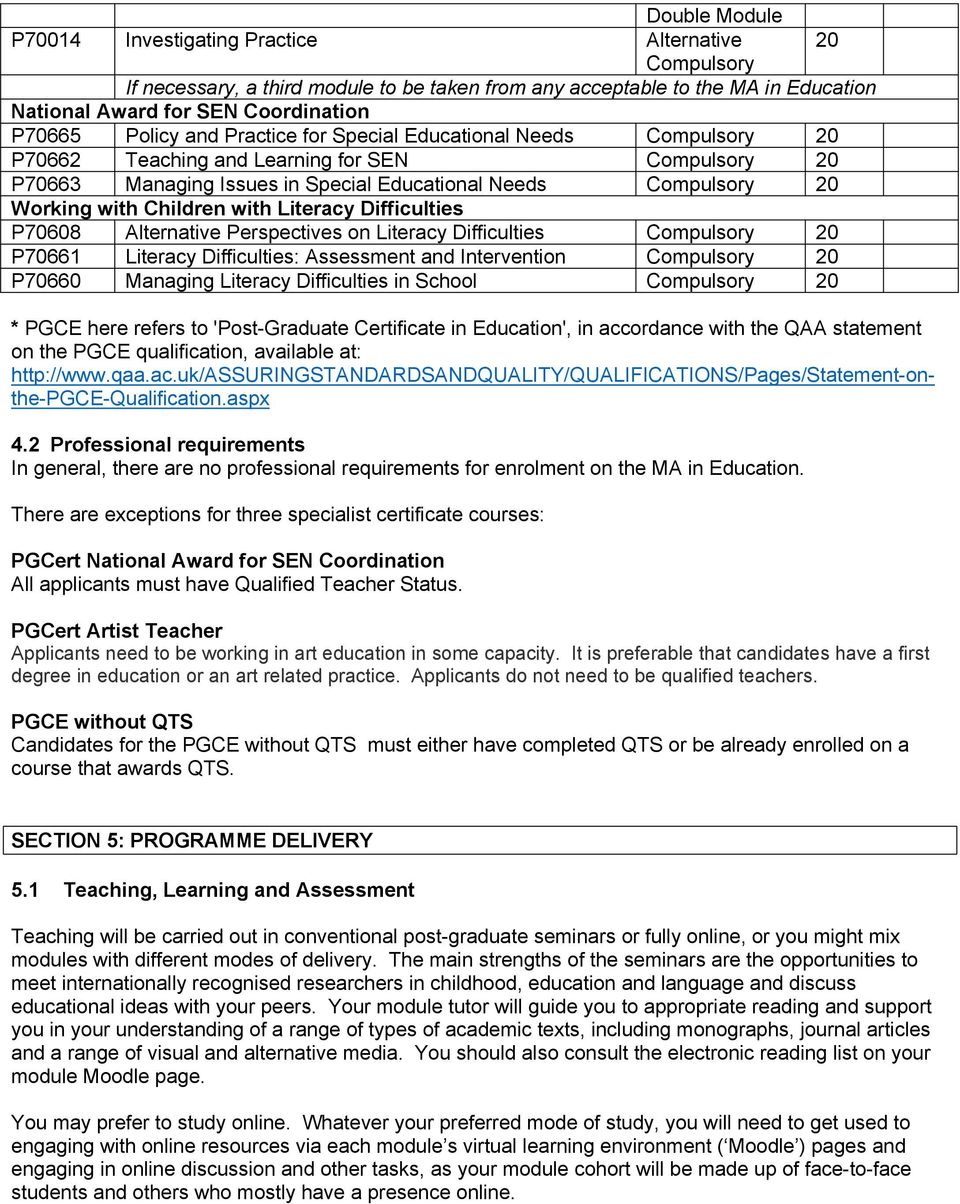 Difficulties P70661 Literacy Difficulties: Assessment and Intervention P70660 Managing Literacy Difficulties in School * PGCE here refers to 'Post Graduate Certificate in Education', in accordance
