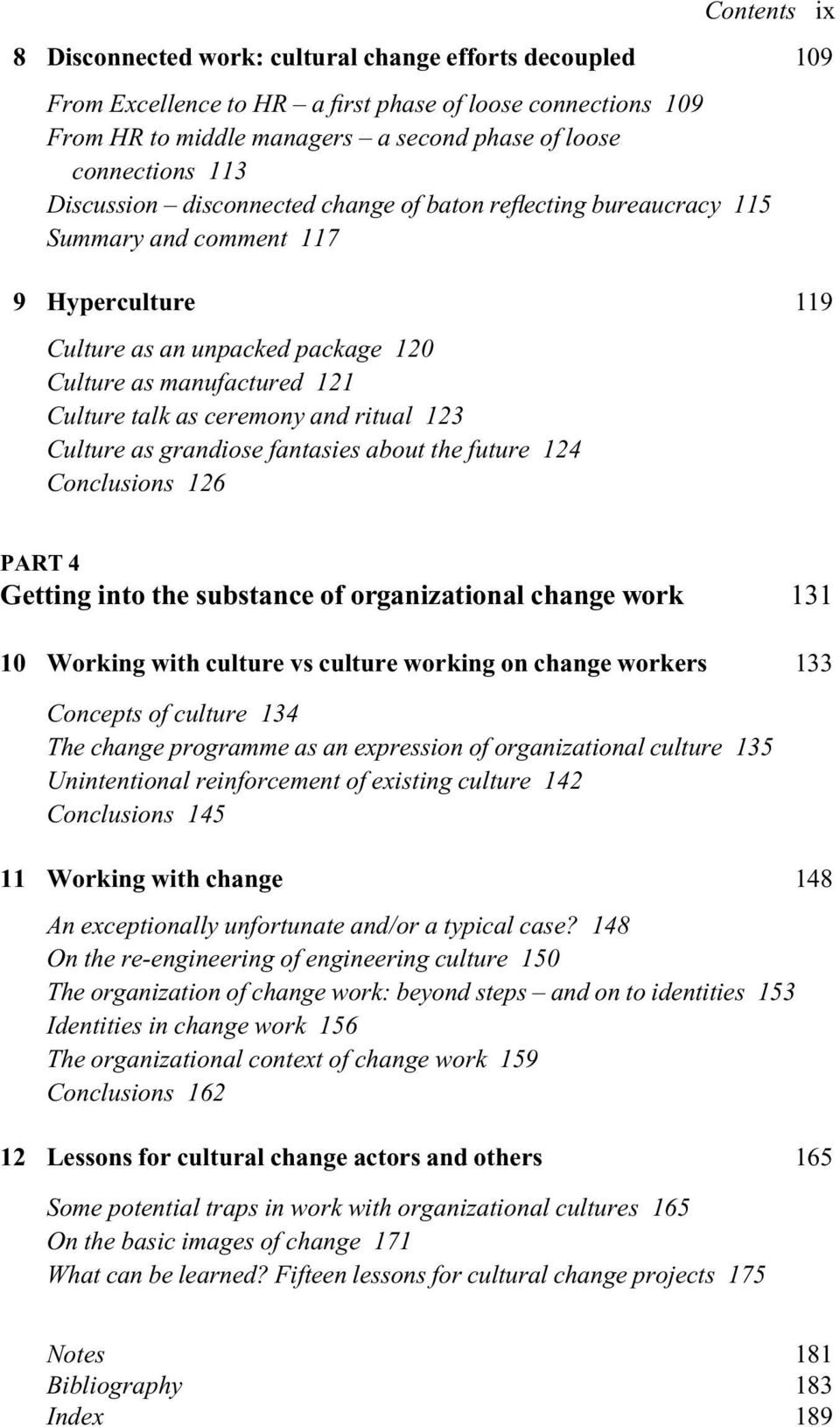 conclusion of organizational change