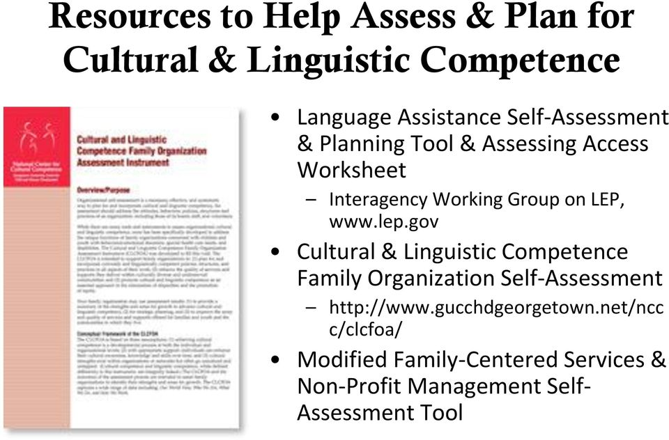 www.lep.gov Cultural & Linguistic Competence Family Organization Self-Assessment http://www.