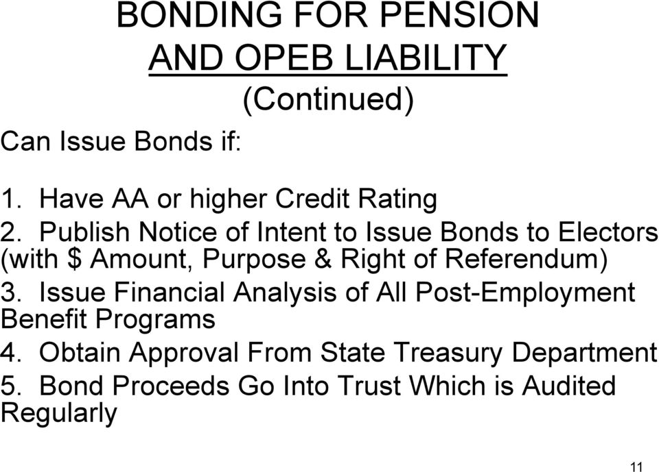 Publish Notice of Intent to Issue Bonds to Electors (with $ Amount, Purpose & Right of
