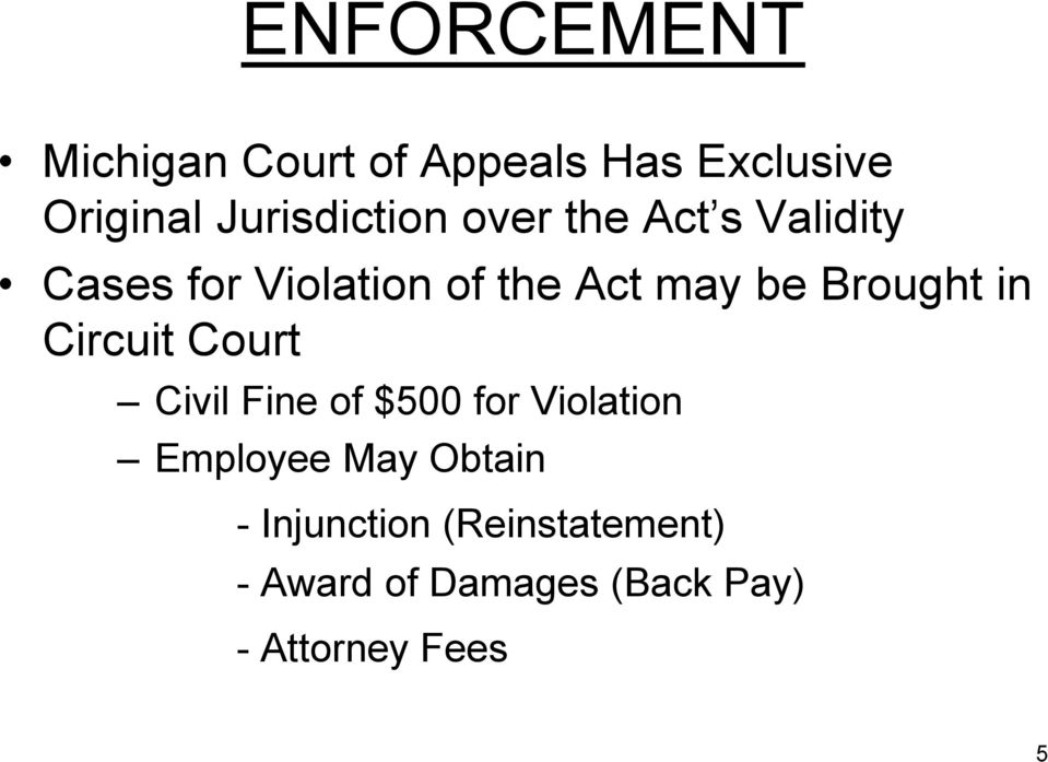 be Brought in Circuit Court Civil Fine of $500 for Violation Employee