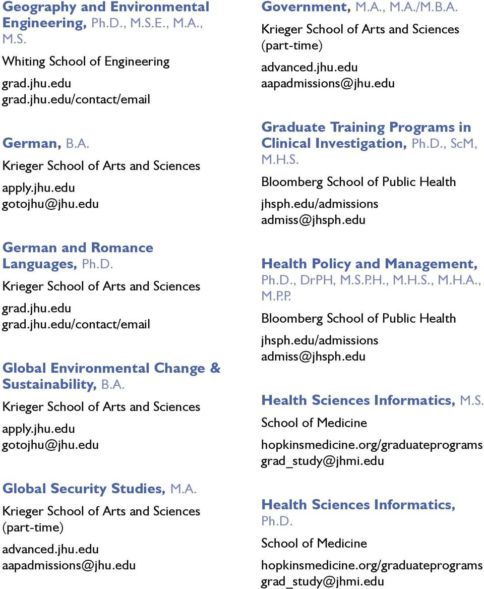 edu/admissions admiss@jhsph.edu Health Policy and Management, Ph.D., DrPH, M.S.P.H., M.H.S., M.H.A., M.P.P. Bloomberg School of Public Health jhsph.