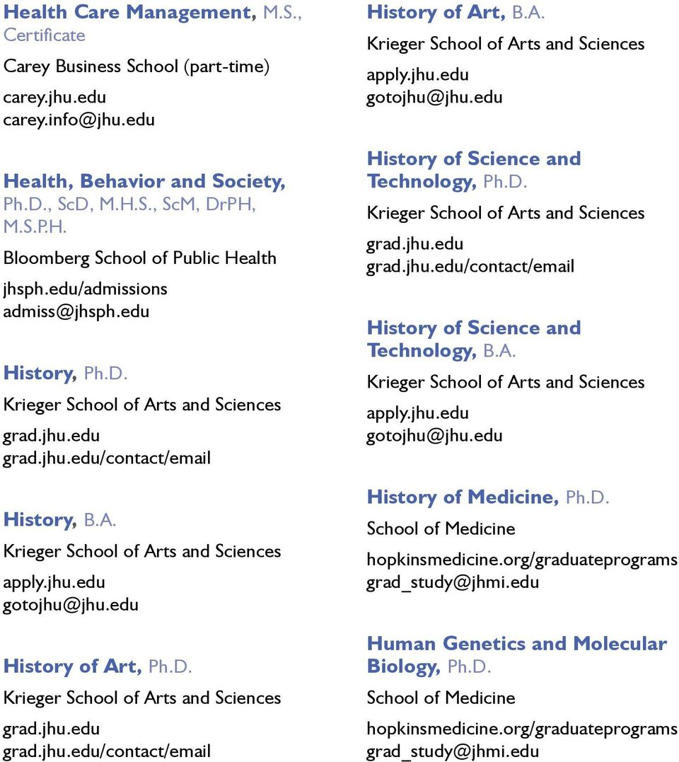 edu/admissions admiss@jhsph.edu History, Ph.D. /contact/email History, B.A. History of Art, Ph.D. /contact/email History of Art, B.