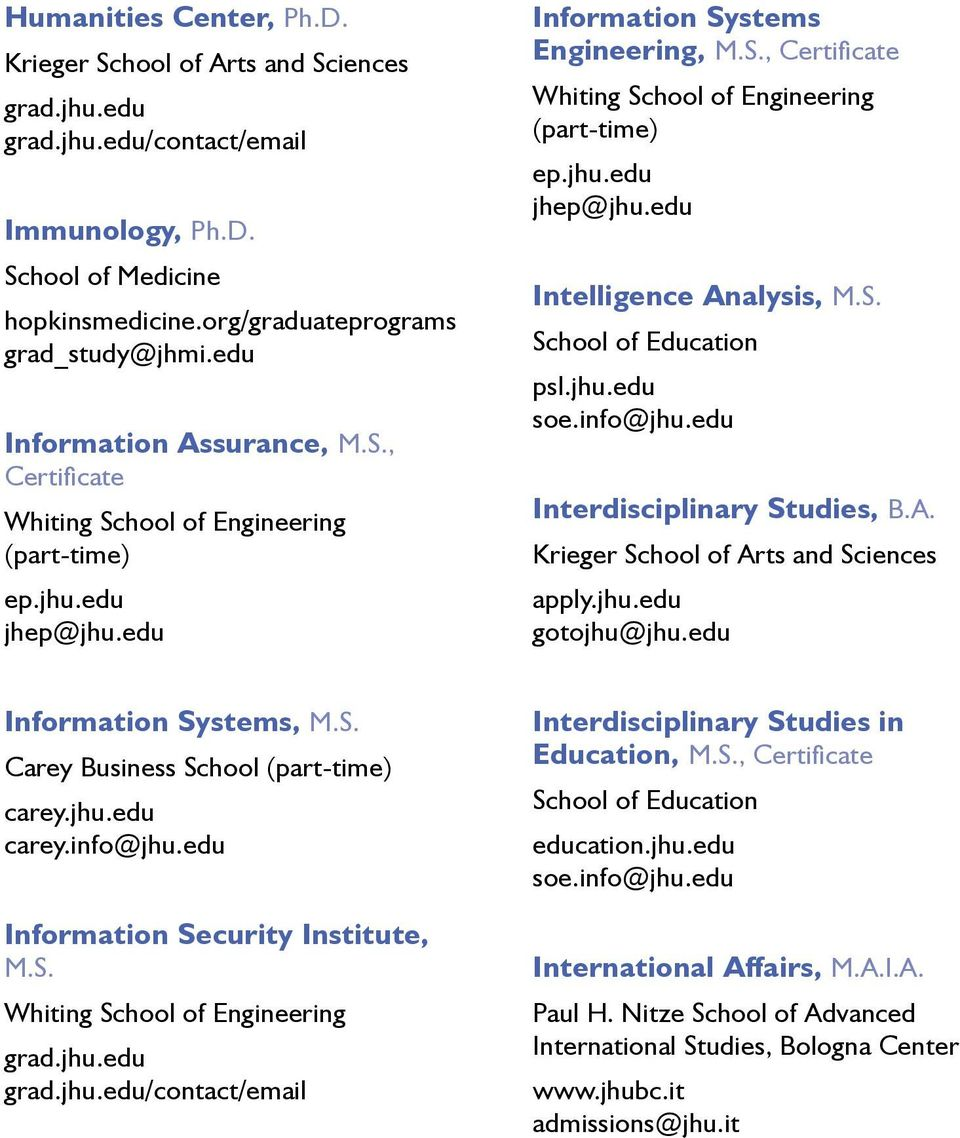 info@jhu.edu Information Security Institute, M.S. /contact/email Interdisciplinary Studies in Education, M.S., Certificate School of Education education.jhu.edu soe.