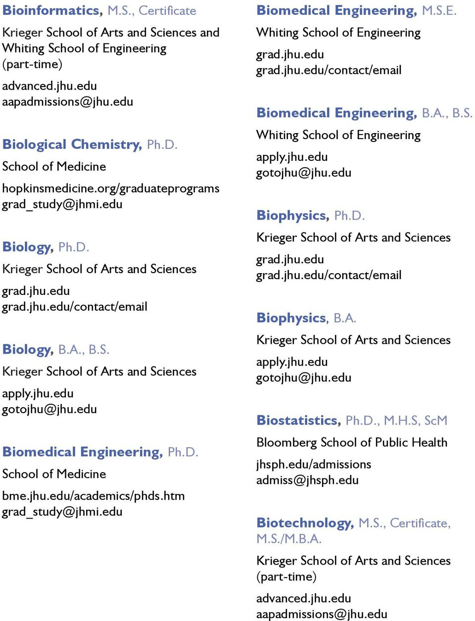 D. /contact/email Biophysics, B.A. Biostatistics, Ph.D., M.H.S, ScM Bloomberg School of Public Health jhsph.