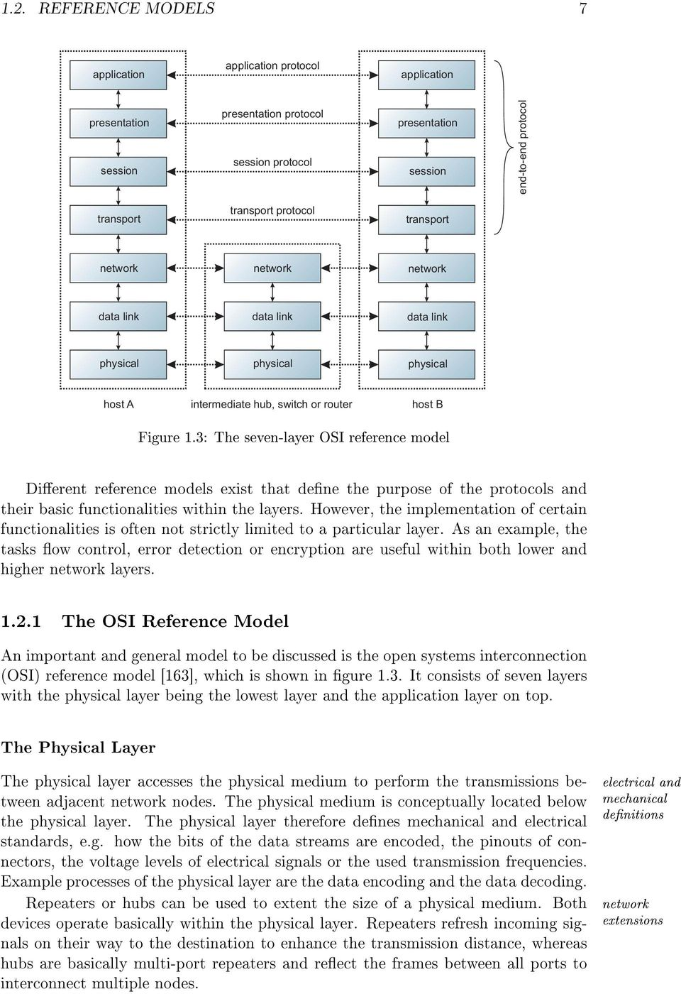 3: The seven-layer OSI reference model Dierent reference models exist that dene the purpose of the protocols and their basic functionalities within the layers.