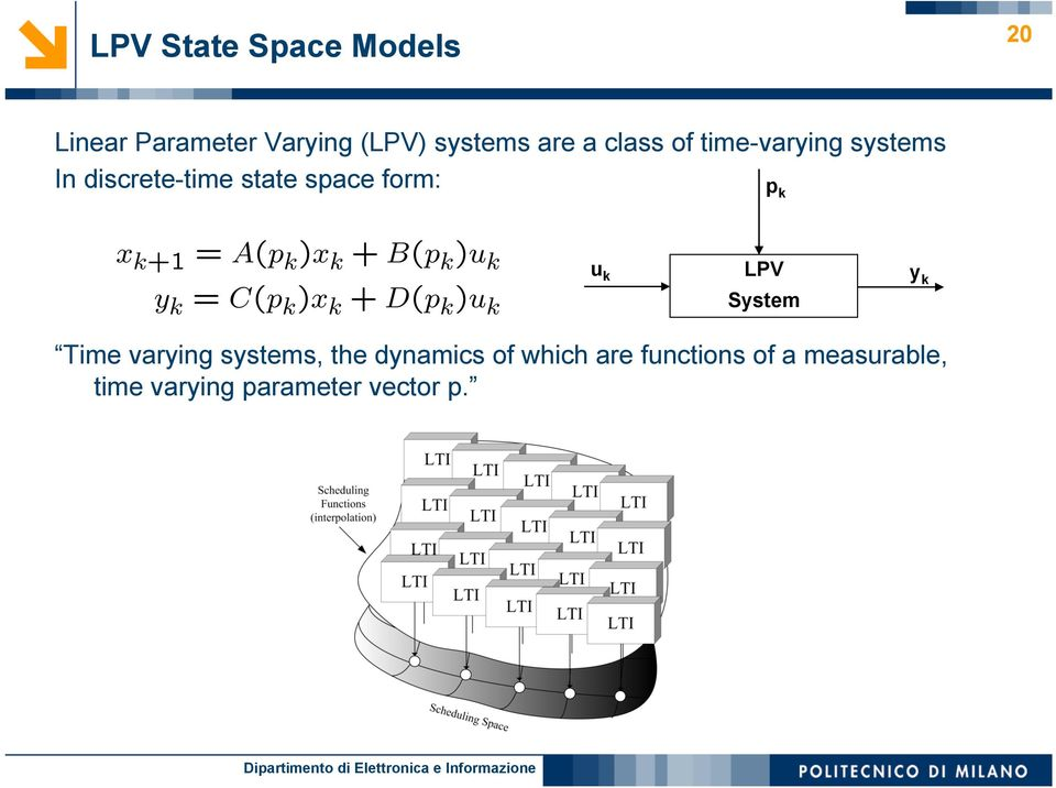 form: p k u k LPV System y k Time varying systems, the dynamics of