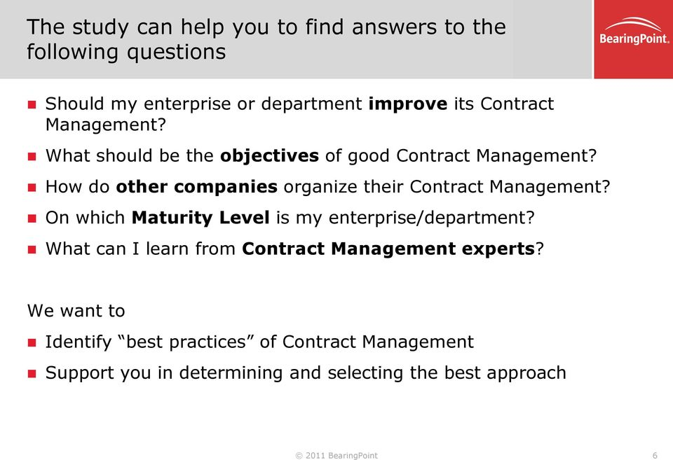 How do other companies organize their Contract Management? On which Maturity Level is my enterprise/department?